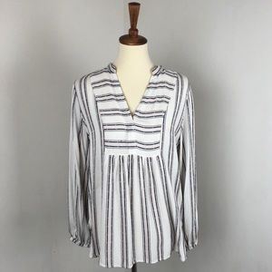 LOFT | Striped Embroidered Popover Blouse